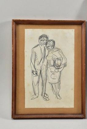 Vintage Framed Sketch, 1958