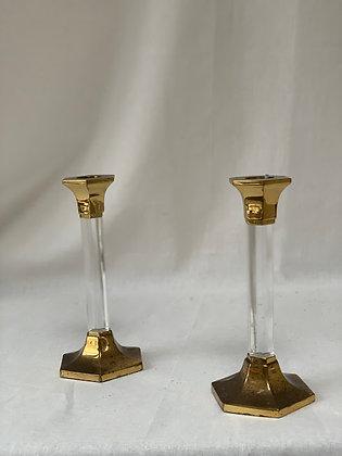 Pair of Brass & Lucite Candlesticks