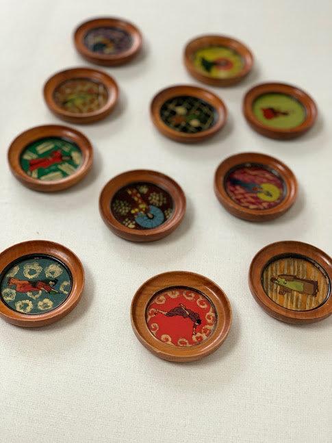 12 Miniatures Reverse Glass Paintings, Asian Origin.