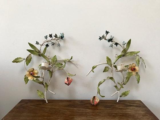 Antique Vintage Italian Toleware Floral Sconces