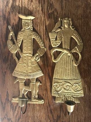 Unique pair of sconces, Brass Woman and her Husband