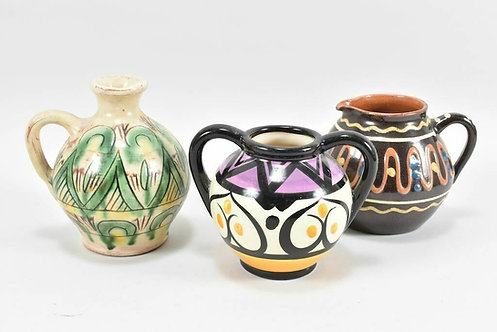 Set of Three Small Decorative Vases, Early 20th Century