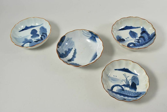 Four Porcelain bowl with blue decoration, hand-painted, China