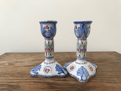 Pair of Portuguese Hand Painted Faience Pottery Candlesticks