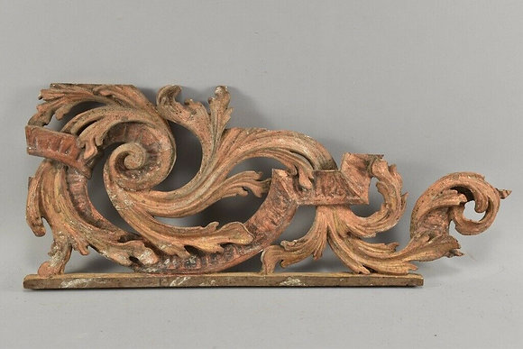 Baroque decorative element volute carved wood 18th century