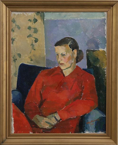 Sitting Woman, Framed Oil by Eddie Westerberg