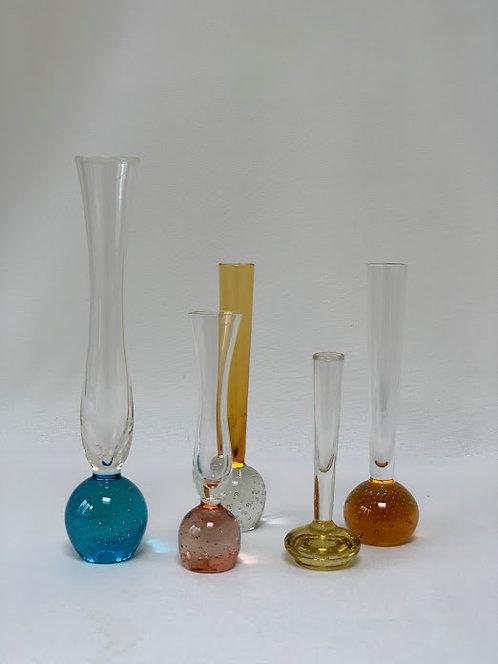 Five Glass Stem Vases