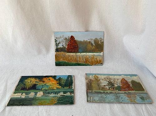 Set of Three Amateur Oil Paintings, 20th Century
