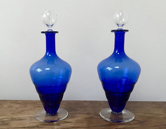A Vintage Pair of Blue Decanters