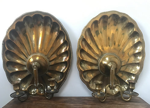 PAIR Vintage BRASS Double CANDLE HOLDER Scalloped Seashell WALL SCONCES India