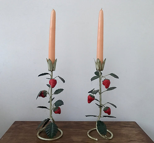 Pair of Toleware Strawberry Candlesticks