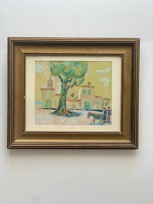 Gerhard Karlmark 1905-1976, southern village scene, gouache, dated 1954 on the