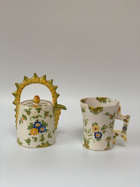 Cantagalli C1890 - Floral Earthenware Tin Coffee Pot & Jug