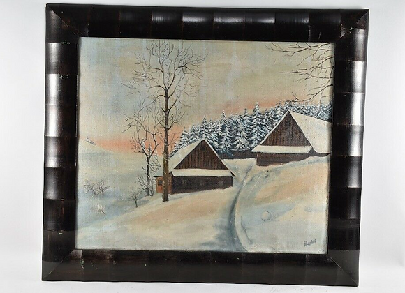 Framed Oil, Snowy Landscape, Indistinctly Signed, 20th Century