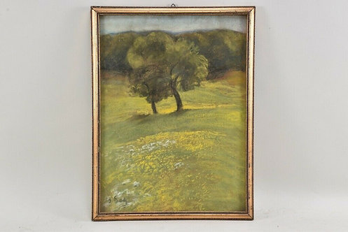 Pastel Landscape, German, 20th Century