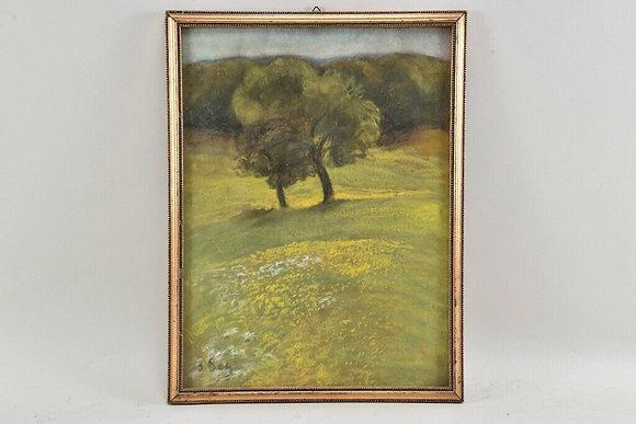 Pastel Landscape, German, 20th Century