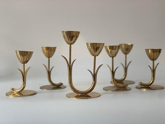 Set of Six Scandinavian Floral Brass Candleholders, by Gunnar Ander