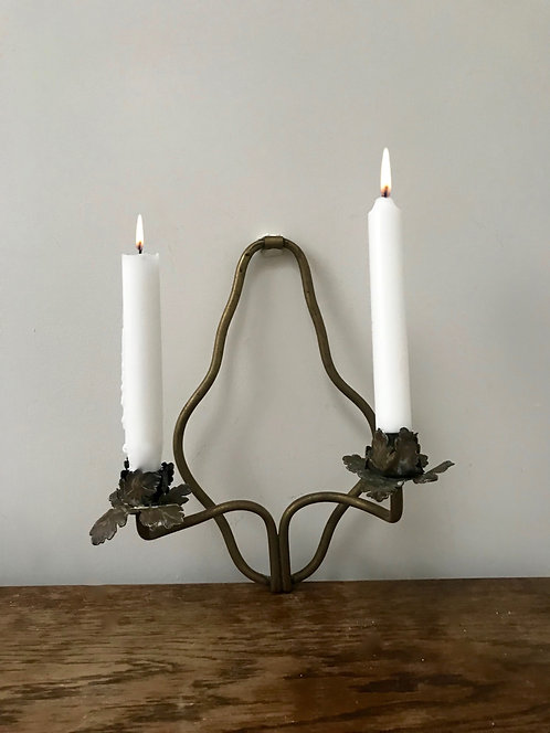 One Vintage Brass Two Armed Wall Sconce