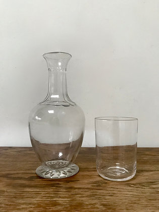 Antique Hand Blown Glass Water Carafe & Tumbler C.1880 Star