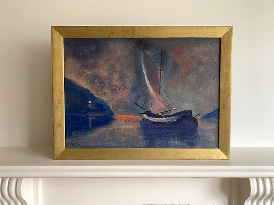 Framed Oil Painting, Boat at Twilight, 1944