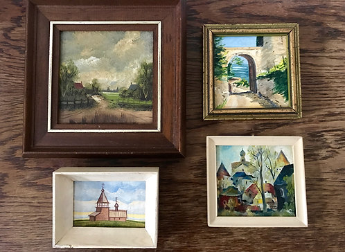 Job lot of 4 Vintage Miniature Oil Paintings