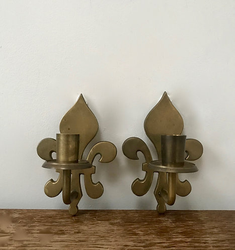 A Pair of Vintage Brass Fleur De Lis Sconces