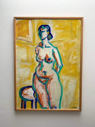 expressive female nude, monogram J.M. , around 1970/80