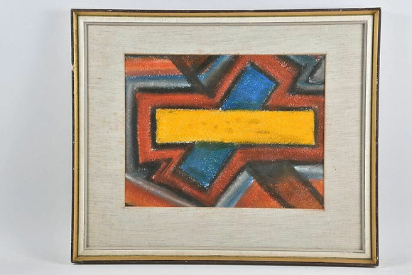 Framed Abstract, Pastel, Unknown Artist