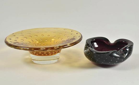 Set of Two Murano Glass Ashtrays