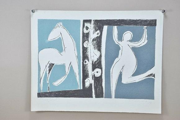 20th Century Print, Woman & Horse