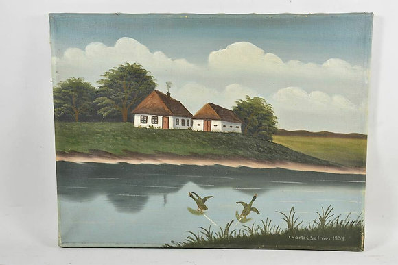 Farmhouse above the beach, sign. Charles Selmer, dat.1937