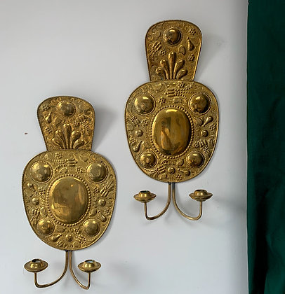 Pair of Two Armed Brass 19th Century Sconces