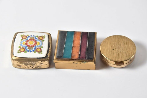 Set of Three Small Brass Boxes
