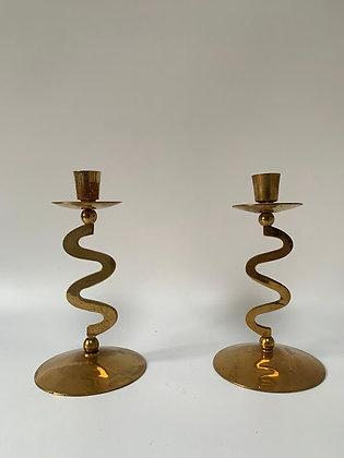 Wiggly Brass Candlesticks