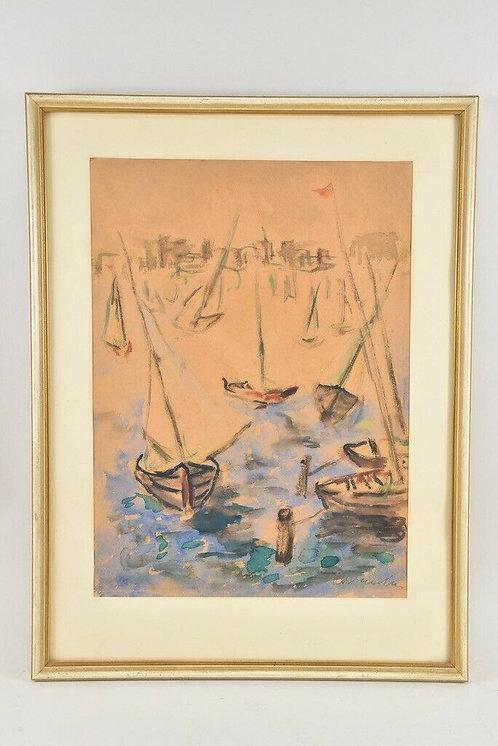 Framed Watercolour, Sailing Boats.