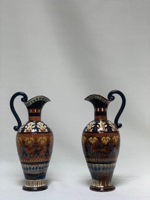 A Pair of Vintage Abraham Majolica Vases