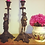 Thumbnail: Impressive Pair of Old Figural Bronze/Brass Male & Female Heavy Candlesticks