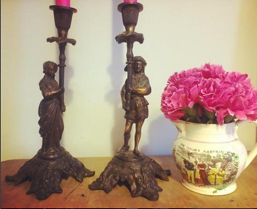 Impressive Pair of Old Figural Bronze/Brass Male & Female Heavy Candlesticks
