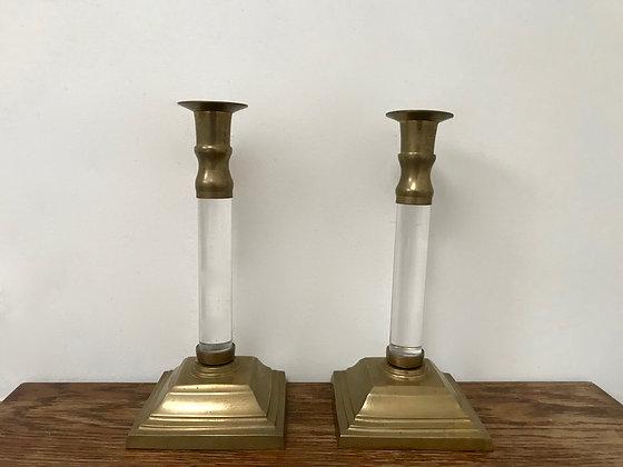 A Pair of Brass & Lucite Candlesticks