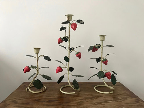 A Set of Three Toleware Strawberry Candlesticks