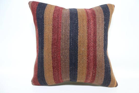 Red, Blue & Mustard Kilim Cushion