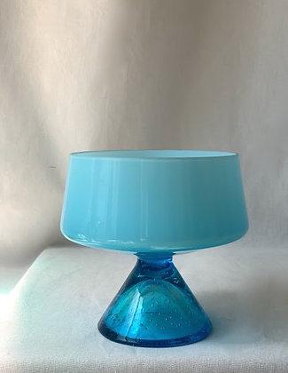 Mid Century Glass Pedestal Bowl