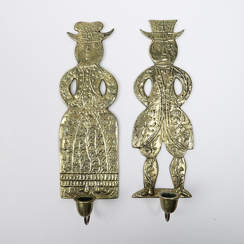 Pair of German Brass Folk Sconces