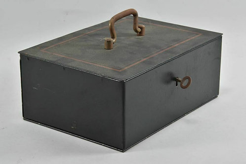 Early 20th Century Metal Box With Key