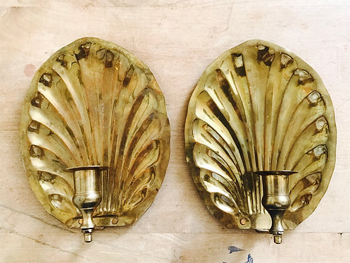 Pair of solid brass wall sconces shell