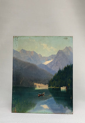 Oil Painting With Lake & Boat, 20th Century