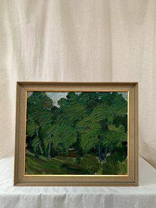 'Forest landscape', oil on canvas, signed.
