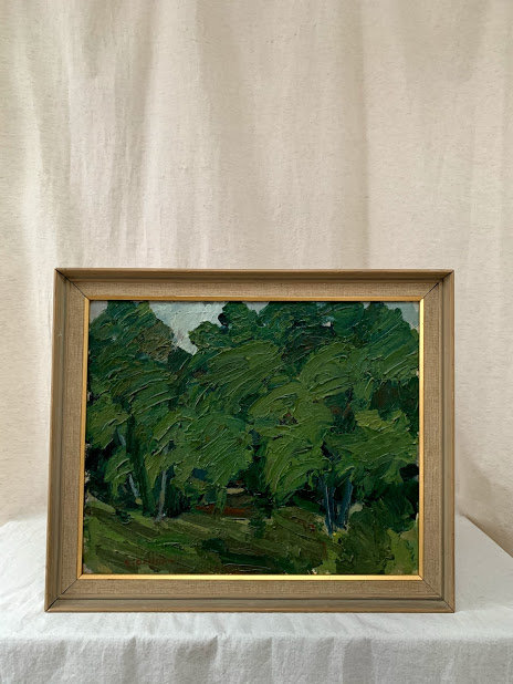 'Forest landscape', oil on canvas, signed.