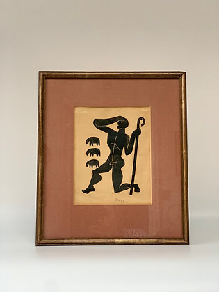Framed Woodcut, Signed S.K, Dated 1953