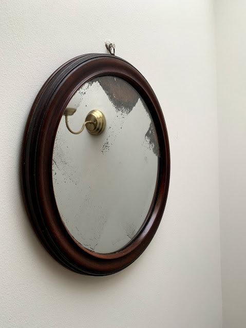 Round Victorian Mirror, Mahogany